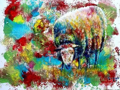 Painting - Grazing Sheep by Anastasis  Anastasi