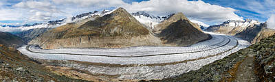 Switzerland Photograph - Great Aletsch Glacier Swiss Alps Switzerland Panorama by Matthias Hauser