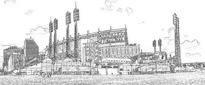 Great American Ball Park Line Art Print