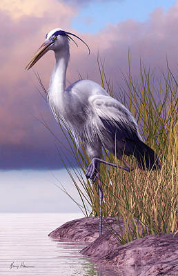 Sea Birds Painting - Great Blue Heron by Gary Hanna