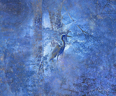 Print featuring the digital art Great Blue Heron In Cosmic Meditation by J Larry Walker