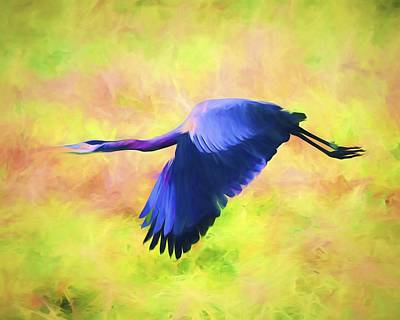 Birds Mixed Media - Great Blue Heron In Flight Art by Priya Ghose