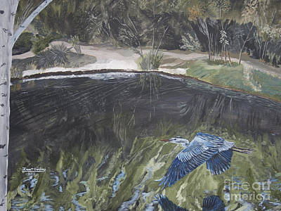 Painting - Great Blue Heron In Flight by Ian Donley