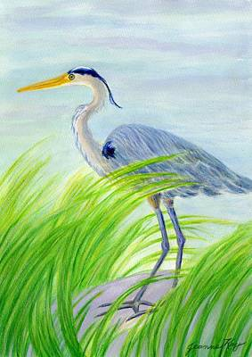 Painting - Great Blue Heron In Grass by Jeanne Kay Juhos
