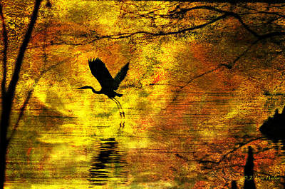 Print featuring the digital art Great Blue Heron In Moment Of Suspense by J Larry Walker