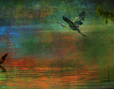 Print featuring the digital art Great Blue Heron In Mystic Flight by J Larry Walker