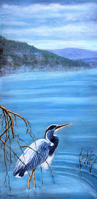 Painting - Great Blue Heron - Lake Lure by Fran Brooks