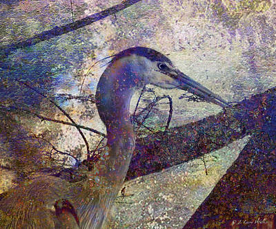 Digital Art - Great Blue Heron Looking Things Over by J Larry Walker