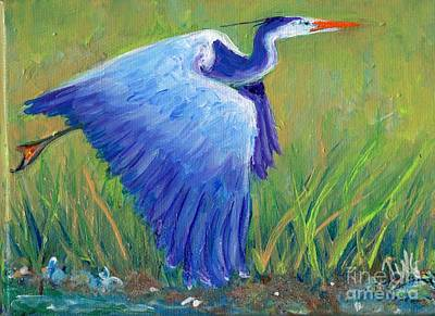 Painting - Great Blue Heron Mini Painting by Doris Blessington