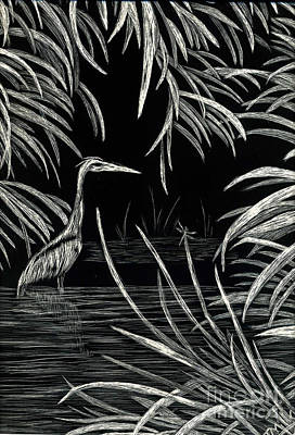 Drawing - Great Blue Heron by Terri Mills