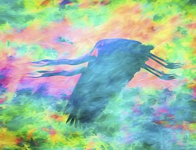 Birds Digital Art - Great Blue Heron Twins by Priya Ghose