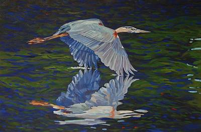 Birder Painting - Great Blue Reflections by Phil Chadwick