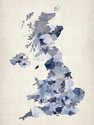 England Digital Art - Great Britain Uk Watercolor Map by Michael Tompsett