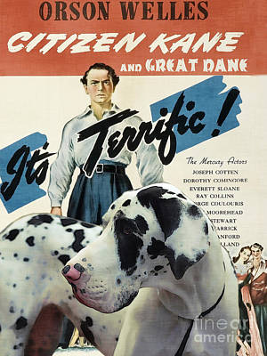 Great Dane Art Canvas Print - Citizen Kane Movie Poster Print by Sandra Sij