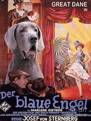 Great Dane Art Canvas Print - Der Blaue Engel Movie Poster Art Print