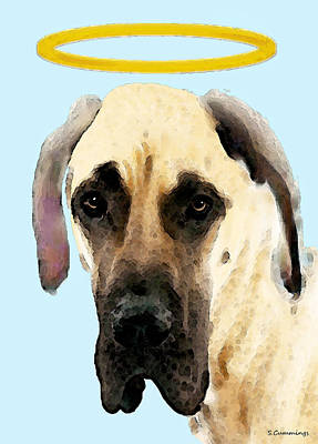 Funny Dog Painting - Great Dane Art - I Didn't Do It by Sharon Cummings