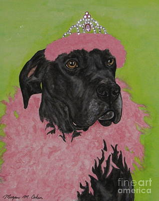 Dog Painting - Great Dane In Drag by Megan Cohen