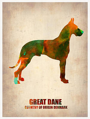 Cute Dog Digital Art - Great Dane Poster by Naxart Studio