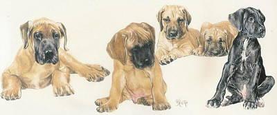Puppies Mixed Media - Great Dane Puppies by Barbara Keith