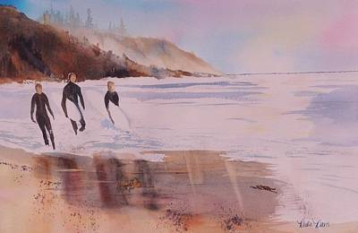 Impressionisttic Painting - Great Day Of Surfing by Dodie Davis