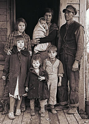 The New Deal Photograph - Great Depression Iowa Farm Family  1936 by Daniel Hagerman