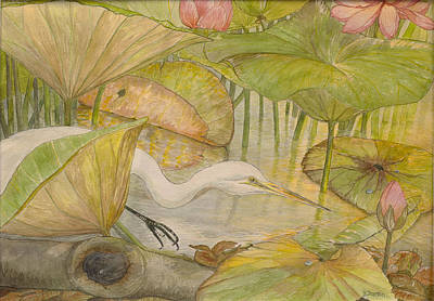 Lilly Pond Painting - Great Egret by Hannah Boynton