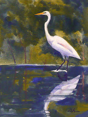 Painting - Great Egret by Janet Zeh