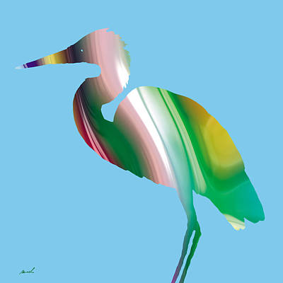 Drawing - Great Egret Rainbow by The Art of Marsha Charlebois