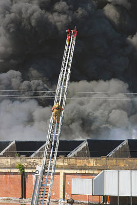 Photograph - Great Falls Mill Fire 1 by Joseph C Hinson Photography