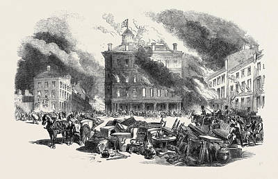 Montreal Buildings Drawing - Great Fire At Montreal Dalhousie Square by English School