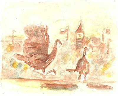 Painting - Great Gobbler Gallop Cuero Texas by Matt Gaudian