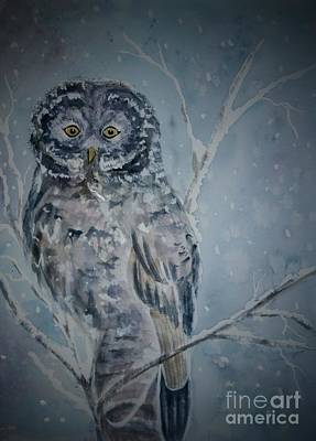 Painting - Great Gray Owl Dark Of Night by Ellen Levinson