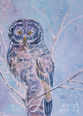 Painting - Great Gray Owl In Blue And Purple by Ellen Levinson