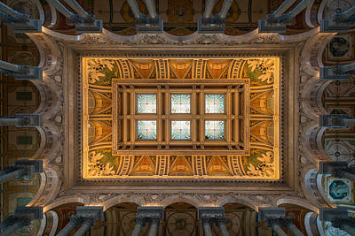Great Hall Ceiling Library Of Congress Art Print by Steve Gadomski