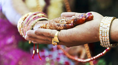 Mendhi Photograph - Great Hindu Wedding Ritual Hand On Hand by Kantilal Patel