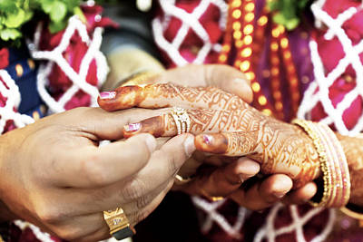 Mendhi Photograph - Great Hindu Wedding With This Ring I Thee by Kantilal Patel