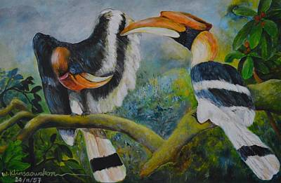 Hornbill Painting - Great Hornbill by Wiriya Klinsaowakon
