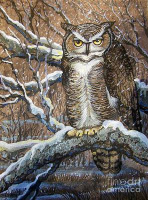 Great Horned Owl Another Storm Art Print