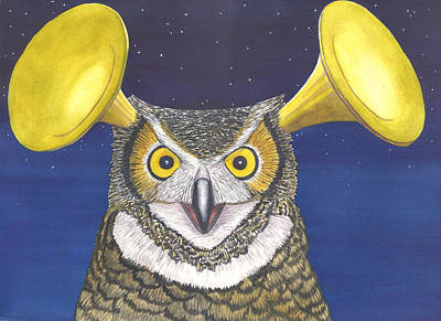 Trumpet Painting - Great Horned Owl by Catherine G McElroy