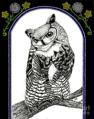 Great Horned Owl Drawing - Great Horned Owl by Christine Matha