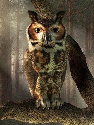 Great Horned Owl Art Print by Daniel Eskridge