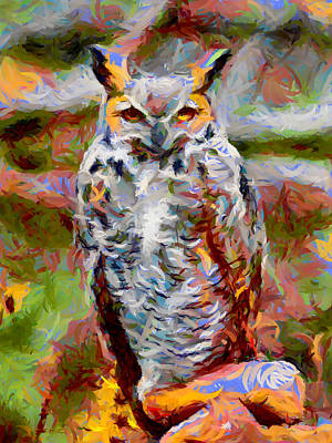 Digital Art - Great Horned Owl Fun by Ernie Echols