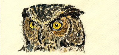 Nocturnal Painting - Great Horned Owl by Juan  Bosco