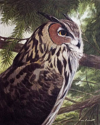 Great-horned Owls Painting - Great Horned Owl by Ken Everett