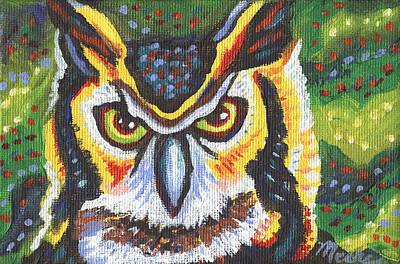 Animal Portraits Painting - Great Horned Owl by Linda Mears