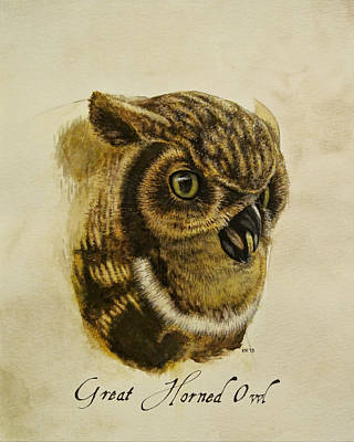 Gouache Painting - Great Horned Owl by Rachel Root
