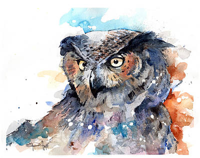 Painting - Great Horned Owl by Sean Parnell