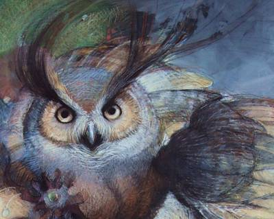 Great Horned Owl Drawing - Great Horned Owl by Tonja  Sell