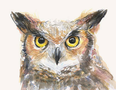 Great White Shark Painting - Great Horned Owl Watercolor by Olga Shvartsur