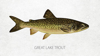 Lake Michigan Digital Art - Great Lake Trout by Aged Pixel